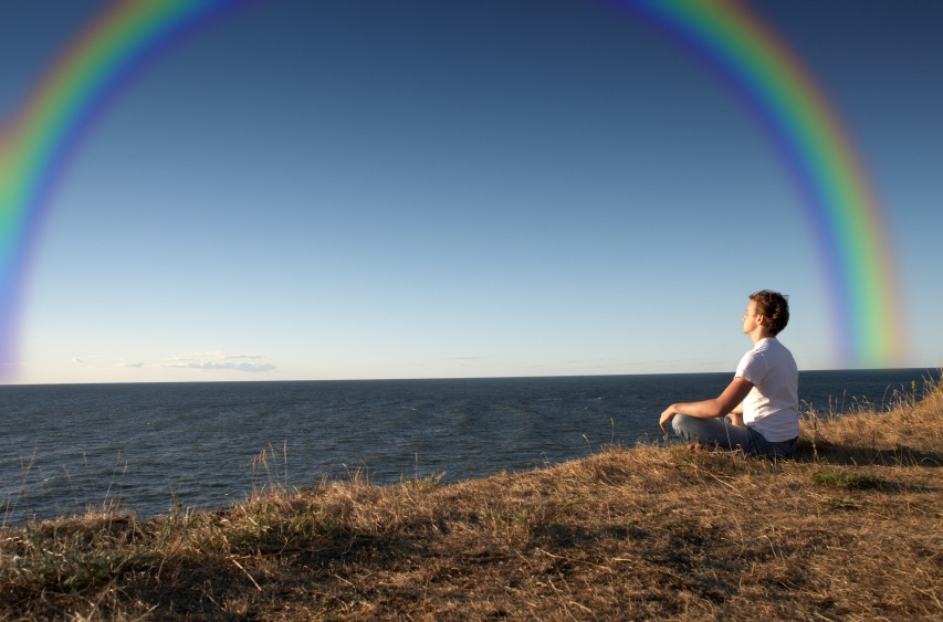 meditation by rainbow